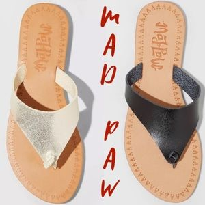 🍃🖤New Mad Paw Vegan Leather Thong Flip Flops
